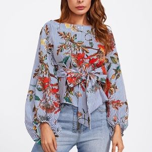 Large Sleeves stripes and floral pattern